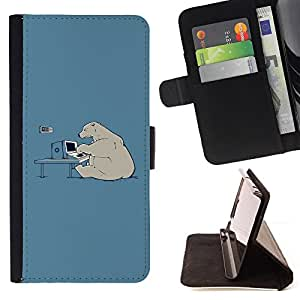 BullDog Case - FOR/HTC One M7 / - / polar bear computer tech art global warming /- Monedero de cuero de la PU Llevar cubierta de la caja con el ID Credit Card Slots Flip funda de cuer