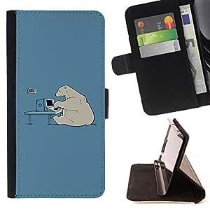 BullDog Case - FOR/Sony Xperia m55w Z3 Compact Mini / - / Hacker Polar Bear Funny /- Monedero de cuero de la PU Llevar cubierta de la caja con el ID Credit Card Slots Flip funda de cuer