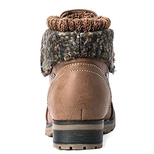 Moda Chics Women's Combat Style Lace-up Ankle Booties with Fur Taupe