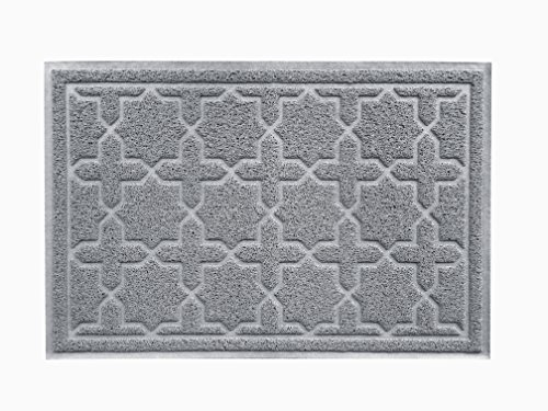 "XL 35"" x 23"" Door Floor Mat Indoor Outdoor Entrance Kitchen Bath Shower Garage Patio Non-Skid/Slip 100% Rubber Antibacterial Waterproof Flexible PVC - Use Anywhere Inside Outside (Star Cross, Grey"