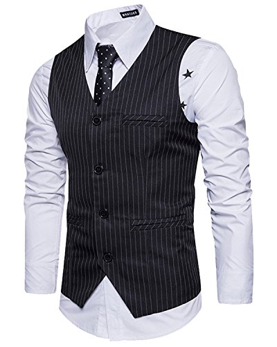 Men's Striped Sleeveless Suit Vest, V Neck Single Breasted Formal Waistcoat Black X-Large (Pinstripe Men Suit)