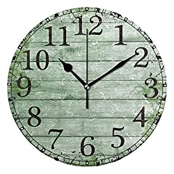 Wall Clock Green Ivy On The Old Wood Barn Round Acrylic Clock Black Large Numbers Silent Non-Ticking 9.45 Clock Decorative Retro Battery Operated Clock for Home School Hotel Library