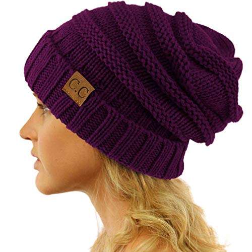 Winter Trendy Warm Oversized Chunky Baggy Stretchy Slouchy Skully Beanie Hat Purple ()
