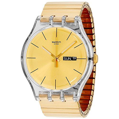 Swatch Unisex SUOK702A Dazzling Light Analog Display Quartz Gold Watch (Swatch Gold Watch Band Small)