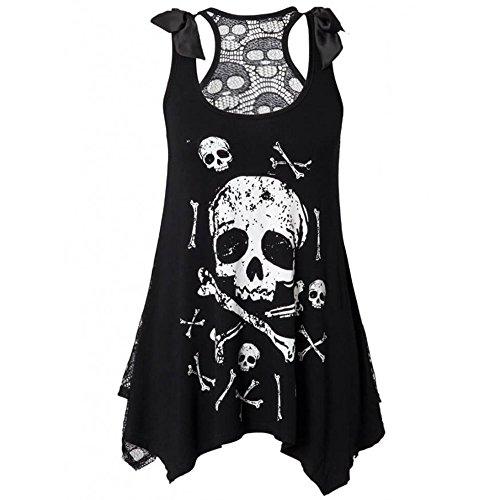 Skull Tank Dress - JINTING Women Summer Casual Sexy Sleeveless Skull Flower Print Hollow Vest Dress Size XXXL (White)