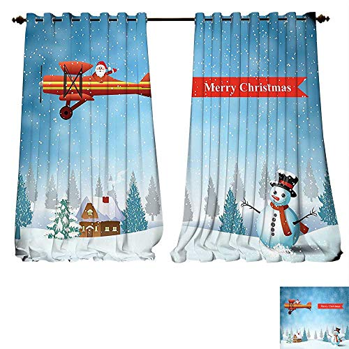 fengruiyanjing-Home Thermal Insulated Blackout Grommet Curtain Christmas Santa