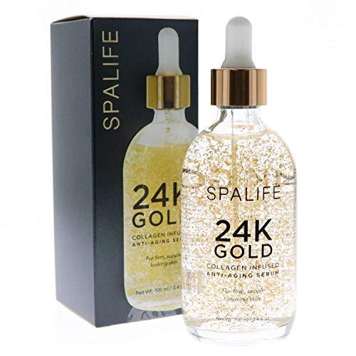 Gold Serum - SpaLife Nourishing Anti-Aging Gold & Silver Serums (Anti-Aging 24k Gold & Collagen) 100 ML(3.4 oz)