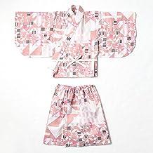 Marlmarl Baby & Kids Original Yukata, Soft Comfortable, Large Size 3-6y Dress, Pink Hanabi Sakura