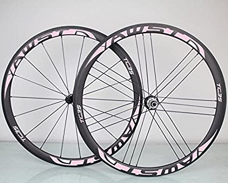awst 700 C 38 mm G3 18/21H Clincher ruedas 23 mm Wideth Racing rueda de bicicleta de carretera de carbono Tubular bicicleta ruedas 1 par, color rosa, tamaño Carbon R36 hubs: Amazon.es: