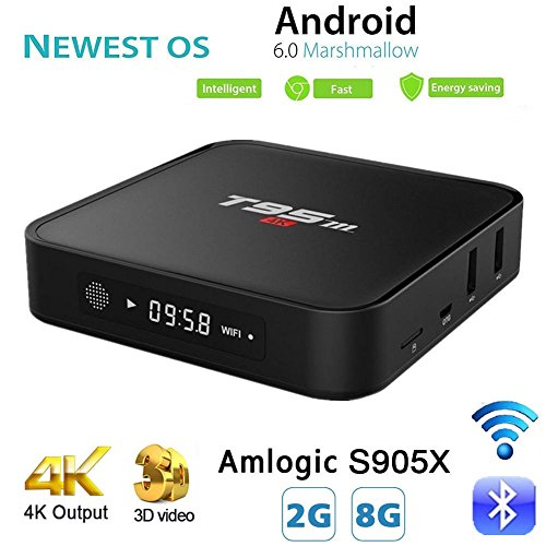 Android TV Box, T95M 2G/8G Android 6.0 Smart TV Box Amlogic S905X Quad Core 2.4GHz WiFi 4K Google Internet TV Box