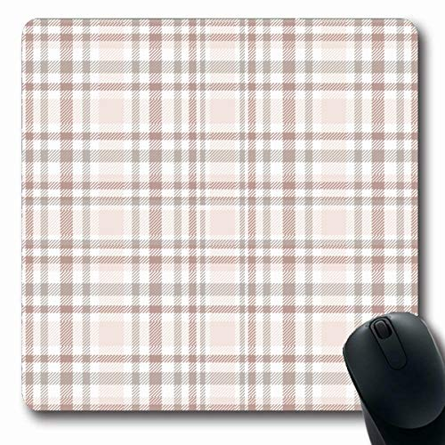(Tobesonne Mousepads Ensemble Tartan Plaid Pattern Tints Ivory Tan Grey Faded Reddish Brown Amp White Check Design Table Oblong Shape 7.9 x 9.5 Inches Non-Slip Gaming Mouse Pad Rubber Oblong Mat)