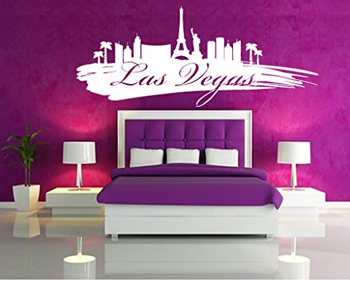 Wall Vinyl Sticker Decals Mural Room Design Pattern Art Decor Las Vegas City View Skyline Nevada bo2074