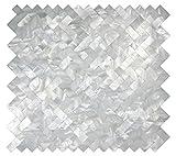 White Groutless Herringbone Pearl Tile 1 piece