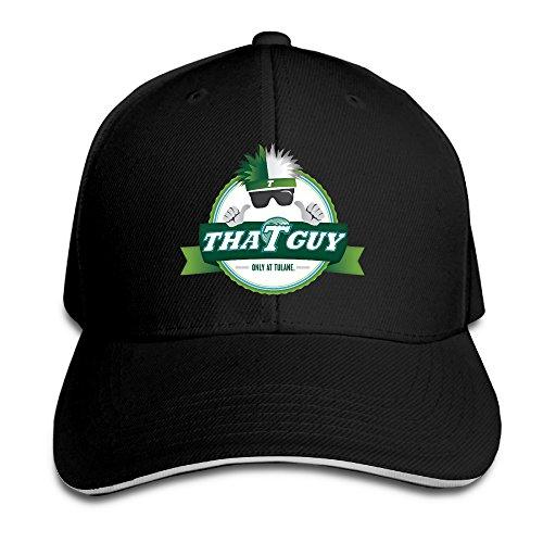 - Fitted Tulane University Green Wave Snapback Black Sandwich Peaked Cap