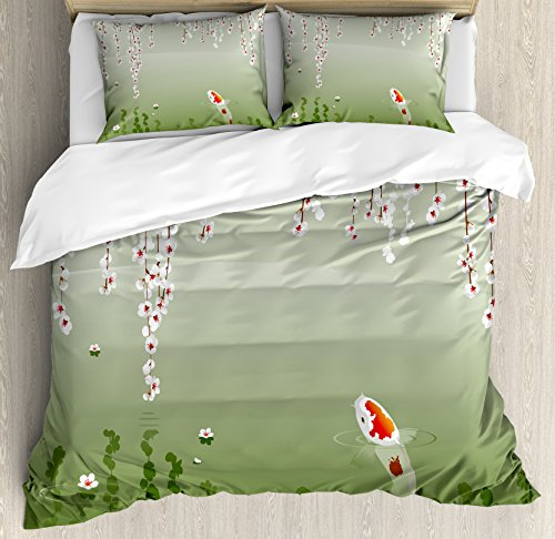 Lunarable Koi Fish Duvet Cover Set Queen Size, Japanese Koi Fish Painting Style Hanging Cherry Flowers Floating Leaves, Decorative 3 Piece Bedding Set with 2 Pillow Shams, Green Orange White by Lunarable