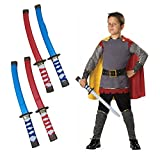 Plastic Swards - Pack of 4 - 17 Inch Plastic Samurai Katana with Sheath and Cloth Wrapped Handles - Ideal for Halloween, Party Dress-Ups, Holiday Occasions, Costume Accessories, and more!