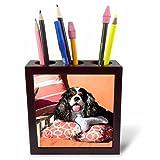 3dRose Danita Delimont - Dogs - Cavalier lying on pillows, MR - 5 inch tile pen holder (ph_258241_1)