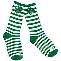 "Striped Irish Fashion Crew 8"" St Paddys Shamrock Socks"