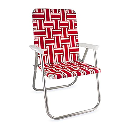 Incroyable Lawn Chair USA Webbing Chair (Deluxe, Red And White With White Arms)