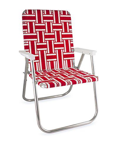 (Lawn Chair USA Webbing Chair (Deluxe, Red and White with White Arms))