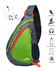 Peicees Travel Sling Backpacks Crossbody Sling Chest Backpack Bag Single Shoulder Sling Bags with Water Bottle Holder and Strap Phone Pocket for Women Men