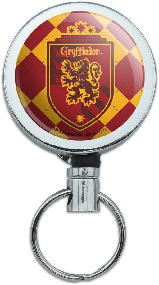 Harry Potter Gryffindor Plaid Sigil Heavy Duty Metal Retractable Reel ID Badge Key Card Tag Holder with Belt Clip