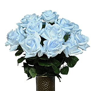 Light Blue Diamond Roses Artificial Bouquet, featuring the Stay-In-The-Vase Design(c) Flower Holder (MD1345) 120