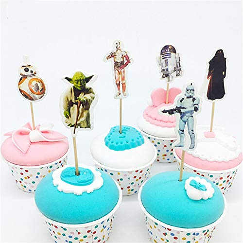 Star Wars Theme Cartoon Cupcake toppers and picks 24pcs, Baby Shower Birthday Party Favors for Kids & Adults Cake Accessory Decoration Supplies, Serve 24]()
