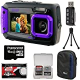 Coleman Duo 2V9WP Dual Screen Shock & Waterproof Digital Camera (Purple) with 16GB Card + Case + Kit