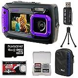 Coleman Duo 2V9WP Dual Screen Shock & Waterproof Digital Camera (Purple) with 16GB Card + Case + Kit