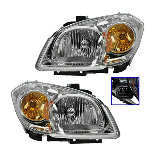 Right Headlight Bracket - Chrome Headlights Headlamps w/Brackets Left & Right Pair Set for 05-10 Cobalt