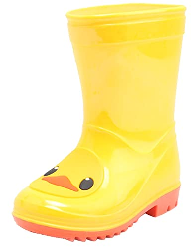 73b6e136b4fa21 D.S.mor Toddler Little Kid Big Kid Yellow Duck Soft Rubber Rain Boots  Anti-Slip Rain Shoes