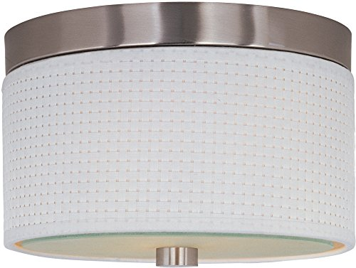 ET2 E95100-100SN Elements 2-Light Flush Mount, Satin Nickel Finish, Glass, GU24 Fluorescent Bulb, 20W Max., Dry Safety Rated, Standard Dimmable, Natural Fiber Shade Material, 3450 Rated Lumens