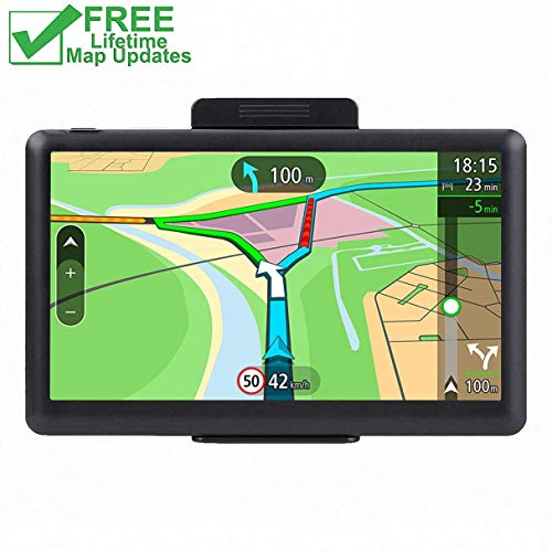 GPS Navigation for Car, 7 inch Lifetime Map Updates, Spoken Turn-by-Turn Vehicle GPS Navigator 8GB Navigation System with USB Cable and Car Charger & Back Bracket & Mount