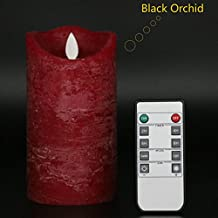 """Kitch Aroma Flameless Candles 6"""" Burgundy Color Real Wax Pillars Include Realistic Dancing LED Flames and 10-key Remote Control with Timer Function,Black Orchid Scented"""