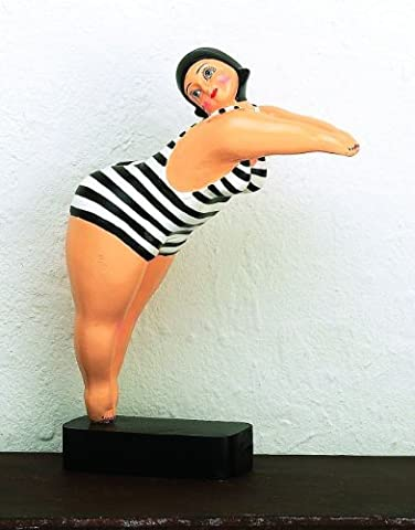 Whimsical Bathing Beauty Retro Statue | Vintage Swimsuit Woman Diving Fat Striped - Neiman Marcus Suits