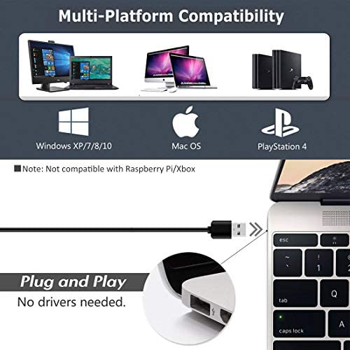 USB Desktop Microphone with Mute Button,Plug&Play Condenser,Computer, PC, Laptop, Mac, PS4 Mic LED Indicator -360 Gooseneck Design -Recording, Dictation, YouTube, Gaming, Streaming (Omnidirectional)