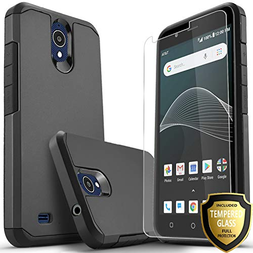 (AT&T Axia Case Included [Tempered Glass Screen Protector], Star Absorption Drop Protection Dual Layers Impact Advanced Rugged Protective Phone Cover-Black)