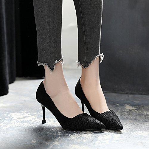Singles Superficial Con Negro Fina De Trabajo De GAOLIM Punta Tacón Femeninos Boca Zapatos Negro Zapatos Alto 8UwBvEq