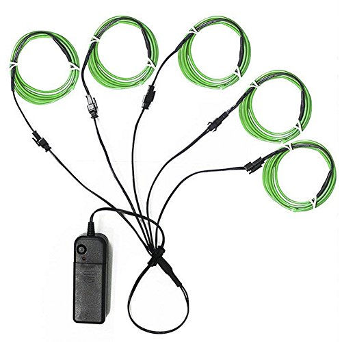 Ourbest El Wire Green Neon Light Wire Battery Pack 3ft Electroluminescent Strip Costume Lights Glowing Strobe String Kit Battery Operated Rope for Halloween Christmas Party Decoration DIY Sign (5x 1m) -