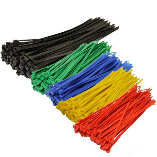 Topzone® Assorted Color Nylon Cable Zip Ties Self Locking, 250-Piece
