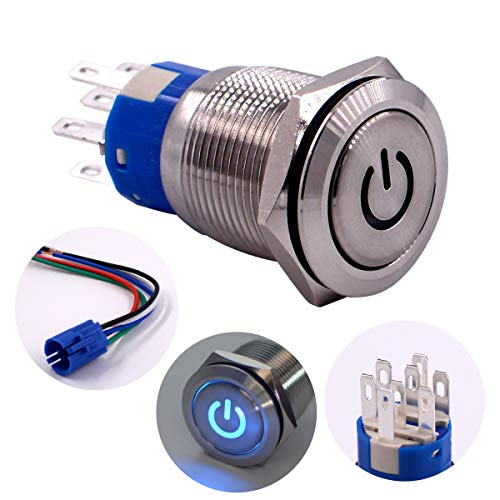 "Latching Push Button Switch, URTONE UR197, 2NO2NC DPDT Stainless Steel with 24V Power Symbol Blue LED for 19mm 3/4"" Mounting Hole, Include Socket (Blue)"