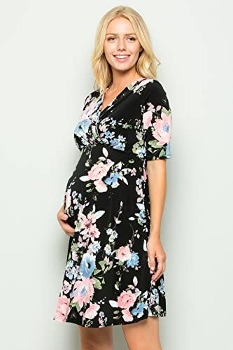 My Bump Womens Overlay Printed Baby Shower Nursing Maternity Wrap Dress