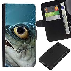 KingStore / Leather Etui en cuir / Sony Xperia Z1 L39 / Piranha Fish Hook Pesca Pescador Barco