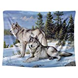 """Gloria Nelly Two White Wolves by The Creek in The Forest Tapestry,Nature Landscape Digital Printed Wall Hanging,Hanging Dorm Bedroom Living Room Decorations,51"""" x 60"""" / 130cm × 150cm"""
