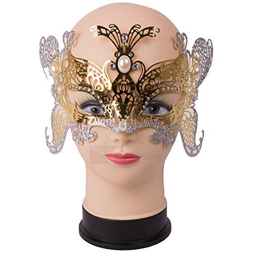 Loftus Glitter Butterfly Metal Laser Cut Half Mask w Jewel Decor, Gold (Victorian Face Masks)