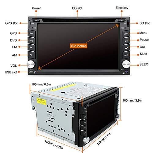 YUNTX Double Din 6.2 Inch Stereo 6.0 GPS Navigation Backup Camera,Support DVD/CD/MP3/MP4/USB/SD/AM/FM/RDS