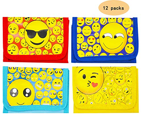 A full size wallet with zipper for kids teens boys and girls Party supplies School supplies Teacher Children Classroom Rewards Treasure Box Carnivals Giveaways Box Emoji themed party favors Pack of 12 -