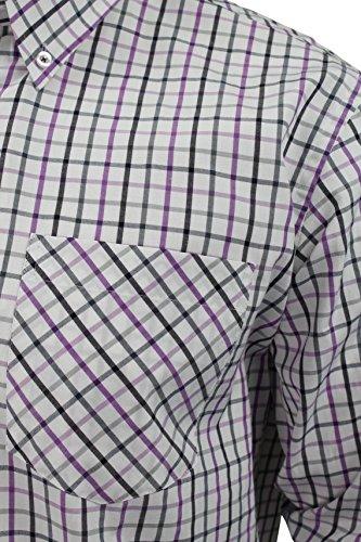 Uomo Maniche lunghe Camicia a quadri di abbigliamento Xact (Lilla) XXXL