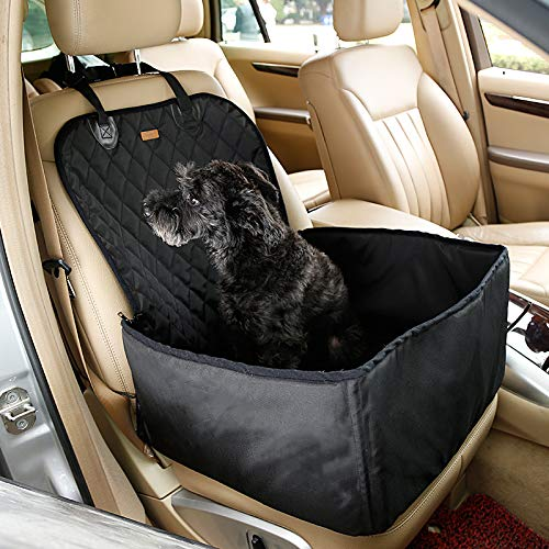 Pettom Pet Bucket Seat Cover Booster Seat 2 in 1 Deluxe Dog Cat Front Seat Cover for Cars Non- Slip Backing Waterproof